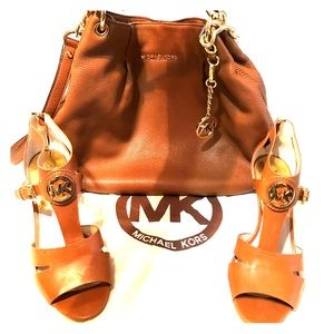 All leather Michael Kors Cognac Purse and Shoes